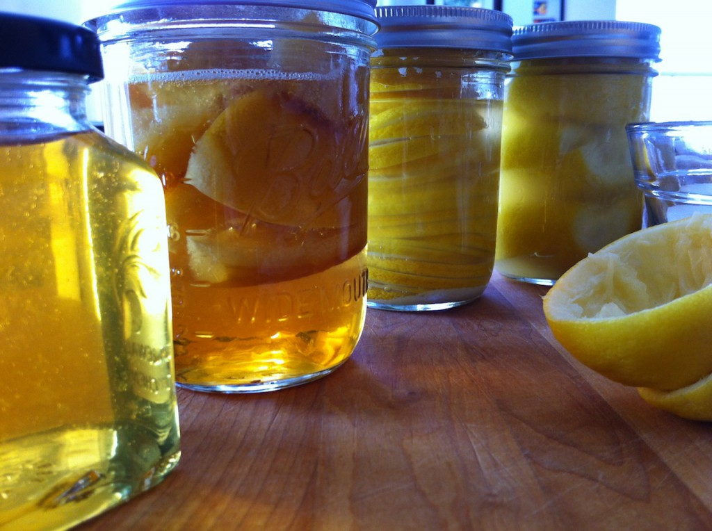 Jar one is left over syrup, jar two is the candied lemons. Now all I have to do it wait.