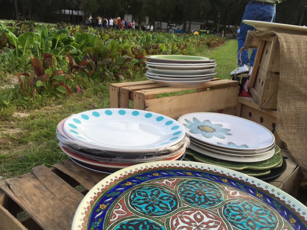 Everyone brings their own plate! It's washed and set for pick-up after dessert.