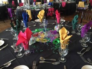 Last years Mardi Gras theme table set.